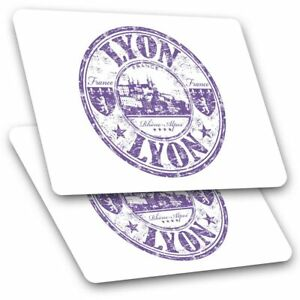 2 x Rectangle Stickers 10 cm - Lyon France Rhône Alpes French #5904