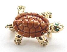 Brooch Pin - Small Turtle - Brown Enamel - Green Rhinestone Eyes - Gold Tone