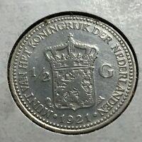 1921  NETHERLANDS SILVER 1/2 GULDEN NICE COIN