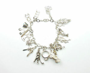 Vintage Charm Bracelet Sterling Silver Mixed Charms Circa 1970's 37.2grams