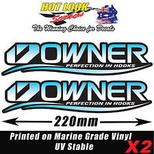 2 Owner Fishing Hooks Lure Rod Boat Stickers Vinyl Decals Suit Tackle Box
