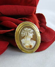 10k Gold Genuine Cameo Vintage Pin Brooch 2.85g FERAL CAT RESCUE