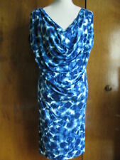 Gap Women's Bright Blue Print Draped Front Dress  Size Small NWT
