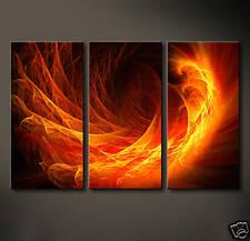 FIRE DRAGON Leinwand Bilder Bild Kunst Abstrakt Feuer Rot Gelb Orange Schwarz