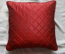 Burgundy Quilted Pillow case designer faux silk cushion cover piping