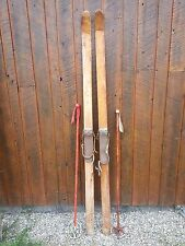 """VINTAGE PATINA Skis 78"""" Long with Metal Bindings and OLD Bamboo Poles"""