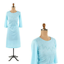 Vintage 80s Pale Aqua Blue Seed Bead Soft Everyday Bow Tie Back Retro Dress L