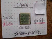 CANADA  STAMP KGV 1c SG 326 F/U G/U IMPER X PERF 81/2