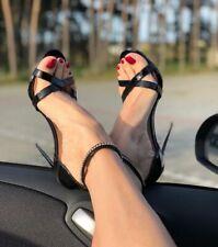 Onlymaker Womens Ankle Strap Rhinestone Sandal Open Toe Cross Band Heel Stiletto