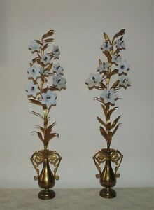 """Pair 32"""" French Brass Mantle Garnitures with Milk Glass Lilies Flowers Floral Ur"""