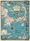 Cape Cod Chart, Martha's Vineyard and Nantucket Vintage History Poster Wall Map