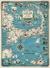 Cape Cod Chart, Martha's Vinyard and Nantucket Vintage History Poster Wall Map