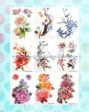 "9 sheets watercolor butterfly roses large 8.25"" half-sleeve arm tattoo wholesale"