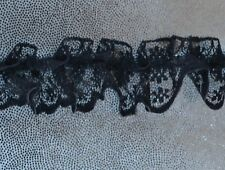 DELICATE PLEATED GATHERED BLACK LACE 2.5cm wide Price per metre AU