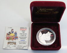 50th Anniversary Disney's 1987 SNOW WHITE HAPPY 1 Troy Oz Proof Silver Round COA