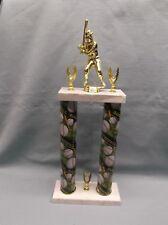 green theme Baseball 2 post trophy marble base