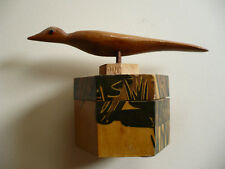 VINTAGE WOODEN JAPANESE TRINKET BOX, JEWELRY BOX, WOOD BIRD WITH ETCHED BAMBOO