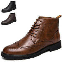 Men Ankle Formal Dress Chelsea Boots Lace Up Wingtip Oxfords Leather Shoes Boot