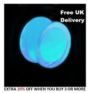 Liquid Blue Glow in the Dark ear plug / flesh tunnel Various Sizes