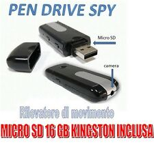 PENDRIVE SPIA NASCOSTA PEN DRIVE USB SPY VIDEOCAMERA + MICRO SD 16 GB KINGSTON!!