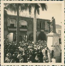 Espagne, La Palma, Santa Cruz, Statue de Diaz, Concert sur la Place Vintage silv