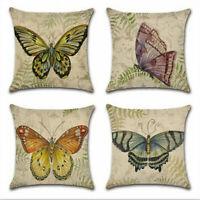 Cute Butterfly Cotton Linen Pillow Case Sofa Throw Cushion Cover Home Decor