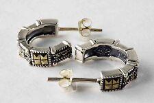 Vintage Judith Jack 925 Sterling Silver Marcasite Segmented Half-Hoop Earrings