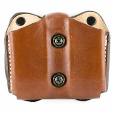 Desantis Ambidextrous Tan Leather Double Magazine Pouch, Glock 17/22