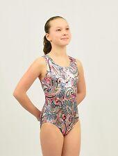 Gymnastics Leotard Intermediate Child(7-8 YEARS) multicolor foil print/white