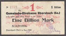 Ebersbach -Gemeinde-Girokasse- 1 Billion Mark im Sep.1923