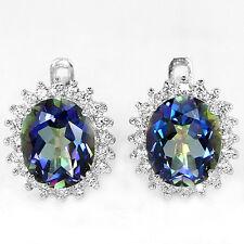 Sterling Silver 925 Oval Cut Facet Green Purple Blue Mystic Topaz Stud Earrings