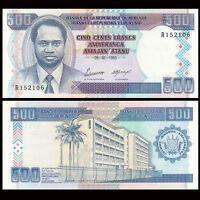 Burundi 500 Francs Banknote, 1995, P-37A, UNC, Africa Paper Money, Original