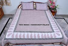 Block Printed Bed sheet Indian Bedspread Cotton Hippie Bedding With Pillow Cover