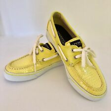 Sperry Top Sider Bahama Yellow Jersey Sequin Slip On Boat Shoes US 7M
