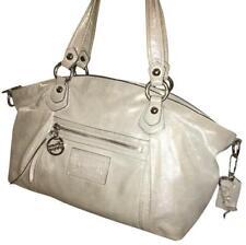 COACH Poppy Rocker Satchel Pearl Gray Luminescent Finish Leather #16285