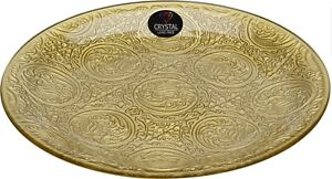 35cm Lead Free Crystal Glass Charger Plate Serving Plate Gold