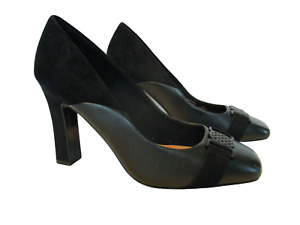 Womens Black Leather Heels Size 5 Wide Fit NEXT Court Shoes Block Heeled RRP £48