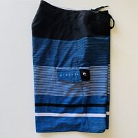 RipCurl Mens Size W34 Blue Black Striped Swim Trunks Surf Board Shorts Boardies