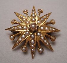 Antique Victorian 14K Gold & Seed Pearl Starburst Flower Brooch - 3.9g