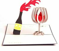 Gift Greeting Message Card With Envelope Pop Up Wine Designed Paper Supplies New