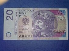 POLAND BANKNOTE 20 ZLOTYCH Issue 15.09. 2016 prefix AT - P.184 new sign UNC