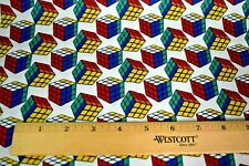 """Rubiks Cube Puzzle Fabric 100% Cotton Sold by Fat Quarter 18"""" x 22"""" Piece New"""