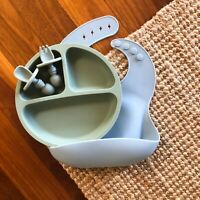 Baby & Toddler Feeding BPA-Free Silicone Bib Plate Set Tableware Dinner Divider