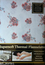 Lit Double Flanelle Sheet Set Multi Floral Fleurs blanc cassé en coton brossé