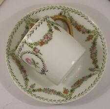 New listing Fine Antique Nymphenburg Porcelain Espresso Demitasse Cup Saucer Hp Tiny Flowers