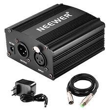 Neewer Phantom 48V Alimentación Suplimiento con Adaptador y Cable de Audio XLR