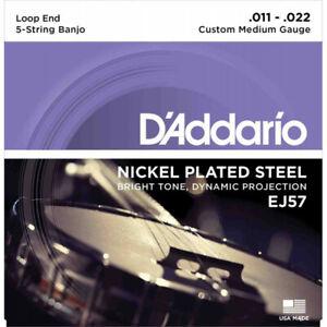 D'Addario EJ57 Custom Med 11-22 - Jeu de cordes Banjo 5 cordes Plaqué Nickel