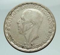 1949 Sweden GUSTAF V Silver Krona Crowned ARMS Antique Vintage Coin i74557