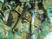 """Two Pc Fixed Blade Knife Set Black Honed-7 1/2"""" and 11"""" Paracord Handle W/Sheath"""