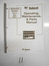 BOBCAT GENERATOR OPERATING MAINTENANCE & PARTS MANUAL BG3.5 BG5 BGE7